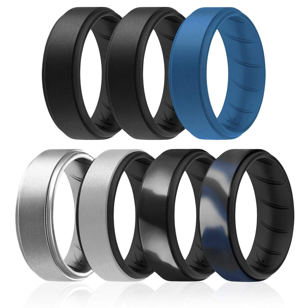 ROQ 7 Pack - ROQ Silicone Men wedding bands - breathable - step 7 7 Pack - Silicone Ring For Men-  Breathable Comfort Fit Duo Step Edge