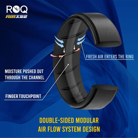 Image of ROQ 7 Pack - ROQ Silicone Men wedding bands - breathable - step 7 Pack - Silicone Ring For Men-  Breathable Comfort Fit Duo Step Edge