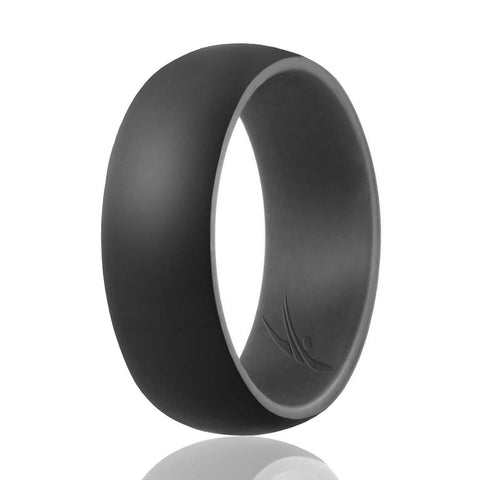Image of ROQ Duo Collection Dome Style 9mm Wide 7 Silicone Ring for Men - Duo Collection Dome Style