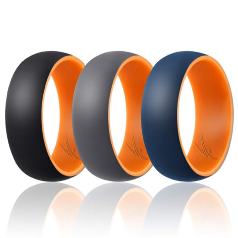 Image of ROQ Mens 3 Pack Duo Collection Dome Style 9mm Wide 7 3 Pack - Silicone Ring for Men - Duo Collection Dome Style