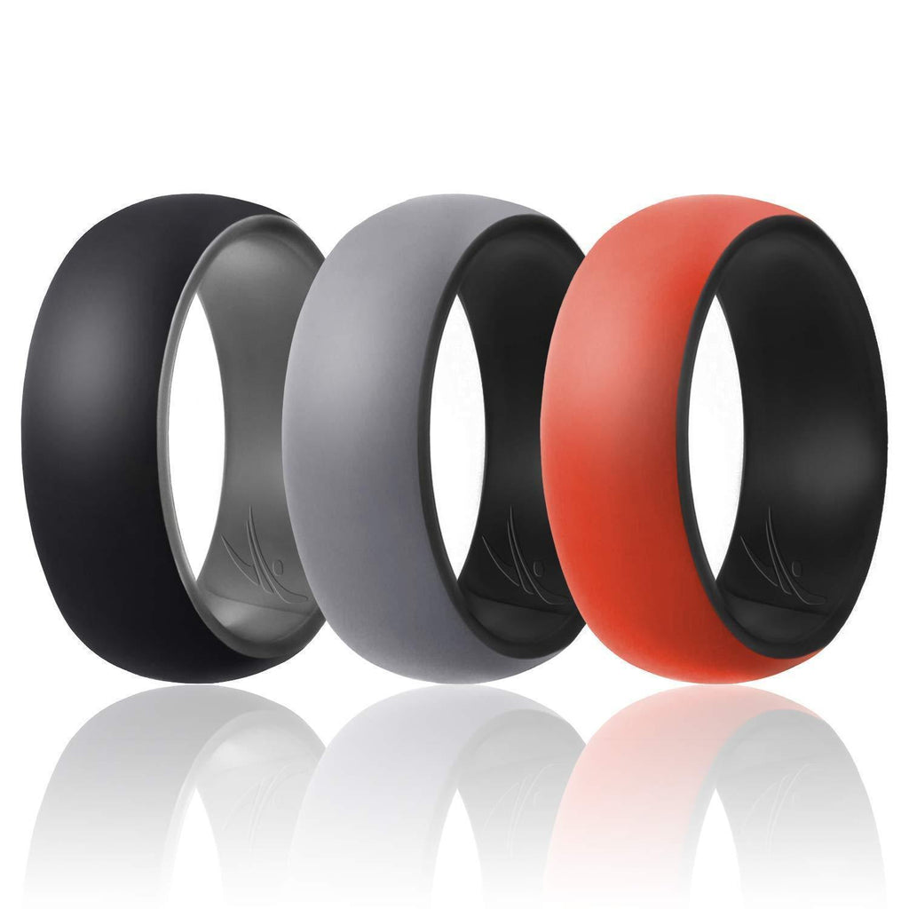 ROQ Mens 3 Pack Duo Collection Dome Style 9mm Wide 7 3 Pack - Silicone Ring for Men - Duo Collection Dome Style