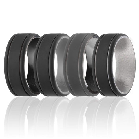 Image of ROQ Mens 4 Pack Duo Collection Dome Style 9mm Wide 7 4 Pack - Silicone Ring for Men - Duo Collection 2 Thin Lines