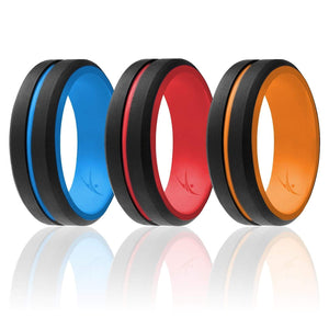 ROQ Mens 4 Pack Step Edge Duo Collection 9mm Wide 3 Pack - Silicone Ring for Men - Engraved Middle Line Duo Collection