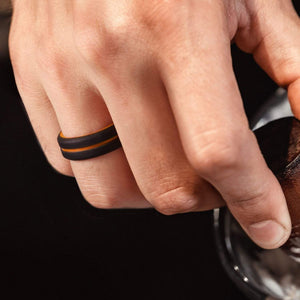 3 Pack - Silicone Ring for Men - Engraved Middle Line Duo Collection