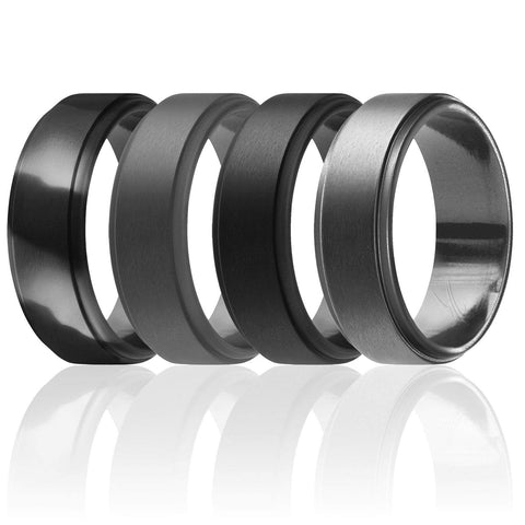 Image of ROQ Mens 4 Pack Step Edge Style 8mm Wide 8 4 Pack - Silicone Ring for Men - Step Edge Style