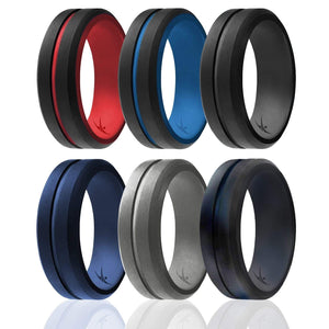ROQ Mens 6 Pack Middle Engraved Line Beveled Edges 8mm Wide 7 6 Pack - Silicone Ring for Men - Engraved Middle Line Duo Collection