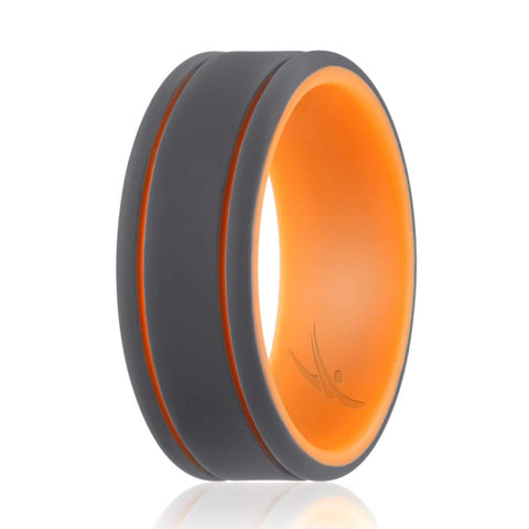 Image of ROQ Mens Duo Collection 2 Thin Lines 9mm Wide 7 Silicone Ring for Men - Duo Collection 2 Thin Lines