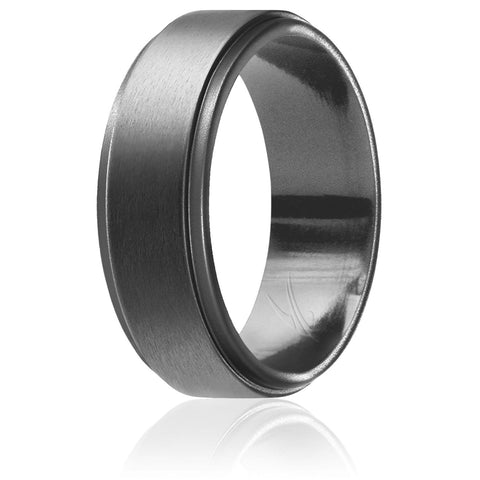 ROQ Mens Step Edge Style 8mm Wide 7 Silicone Ring for Men - Step Edge Style