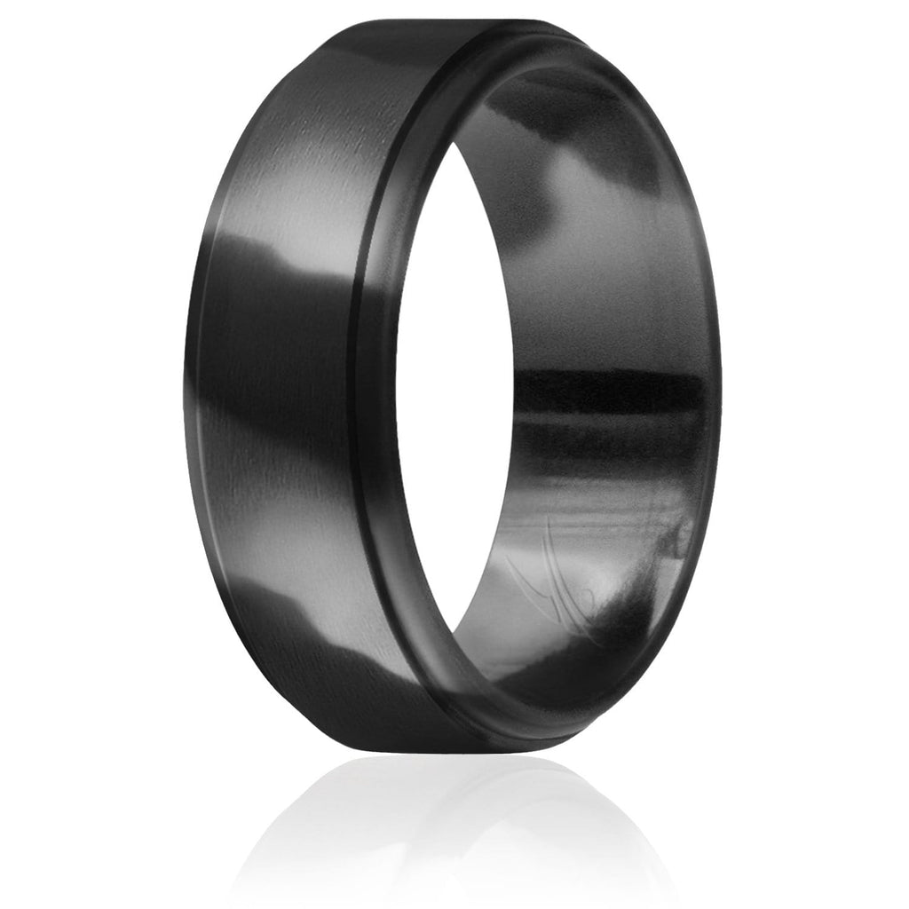 ROQ Mens Step Edge Style 8mm Wide Silicone Ring for Men - Step Edge Style