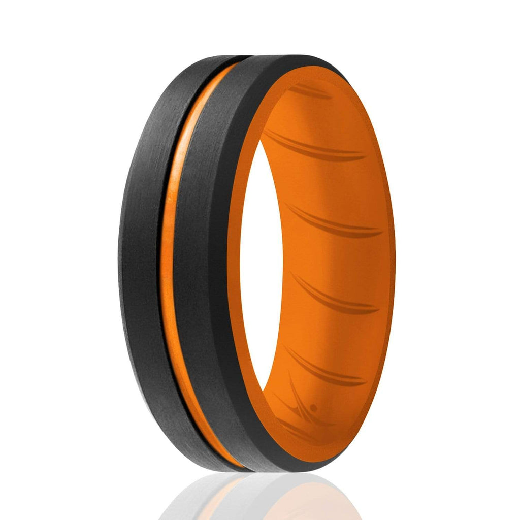 ROQ Single ring - ROQ Silicone Men wedding bands - breathable - middleline 7 Silicone Ring For Men-  Breathable Comfort Fit Duo Engraved Middle Line