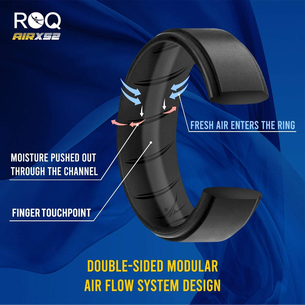 ROQ Single ring - ROQ Silicone Men wedding bands - breathable - step Silicone Ring For Men-  Breathable Comfort Fit Duo Step Edge