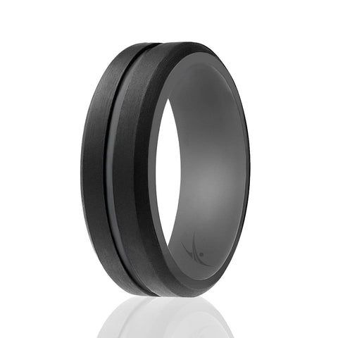 ROQ Step Edge Duo Collection 9mm Wide 7 Silicone Ring for Men - Engraved Middle Line Duo Collection
