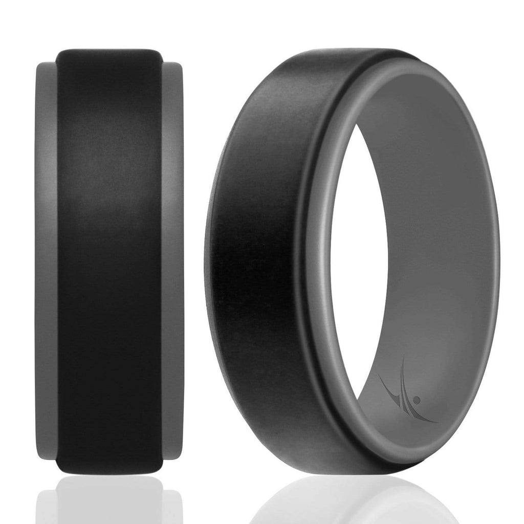 ROQ Step Edge Duo Collection 9mm Wide 7 Silicone Ring for Men - Step Edge Duo Collection