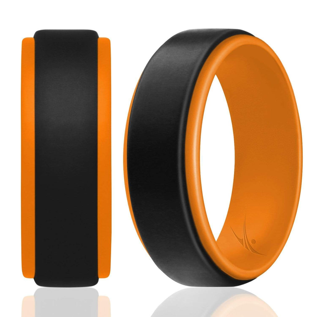ROQ Step Edge Duo Collection 9mm Wide Silicone Ring for Men - Step Edge Duo Collection