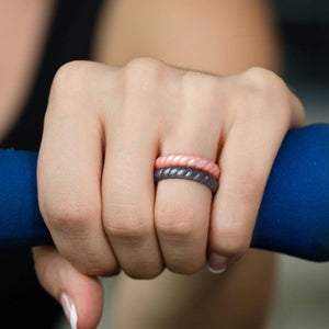2 Pack - Silicone Rings for Women - Thin Stackable - Braided Style