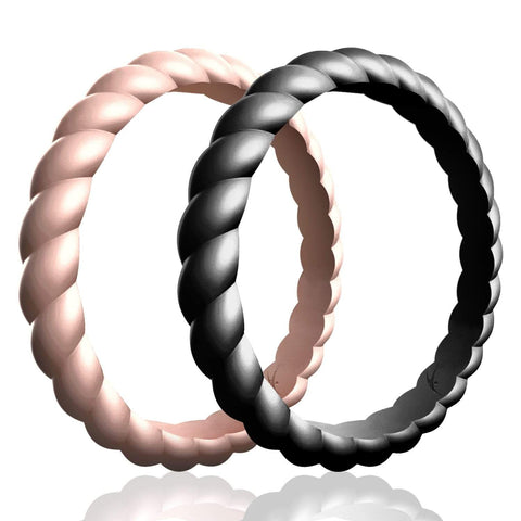ROQ Womens 2 Pack Stackable Braided Style 2.5mm Wide 4 2 Pack - Silicone Rings for Women - Thin Stackable - Braided Style