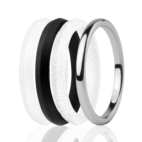 ROQ Womens 4 Pack Full Cycle Collection 2mm Stackable Style Comfort Fit Wide 4 ROQ Tungsten Carbide Wedding Band Ring for Women and Set of 3 Silicone Rings 2mm Comfort Fit Lifetime Guarantee