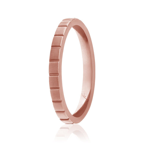 ROQ Womens Stackable Horizontal Lines Style 2.5mm Wide 4 Silicone Ring for Women - Thin Stackable - Horizontal Lines