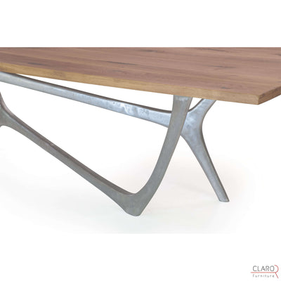 Custom Oak or Walnut Dining Table with Cast Aluminium Legs