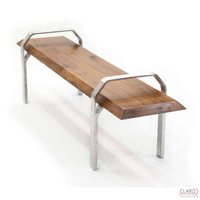 Walnut Bench with Sand Cast Aluminium Legs