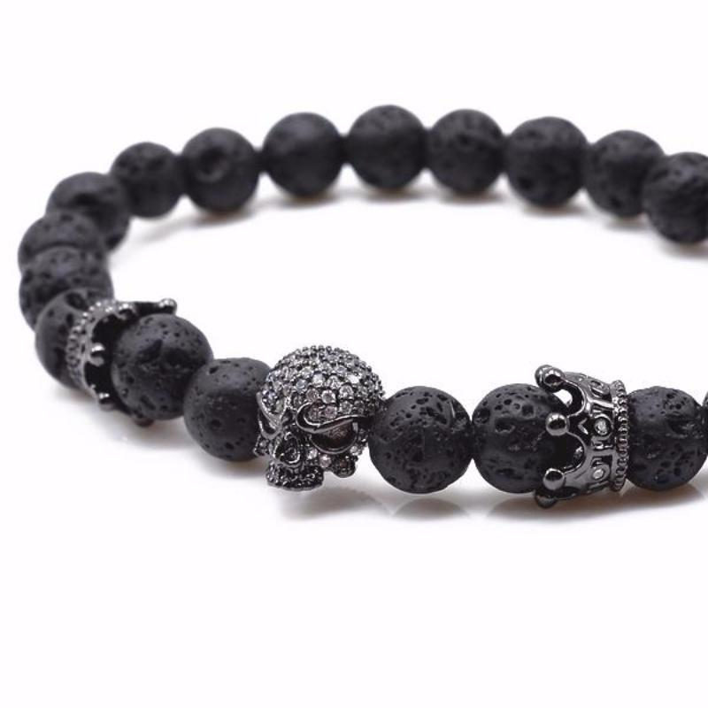 BLACK SKULL CROWN STONE BRACELET - Fleek365