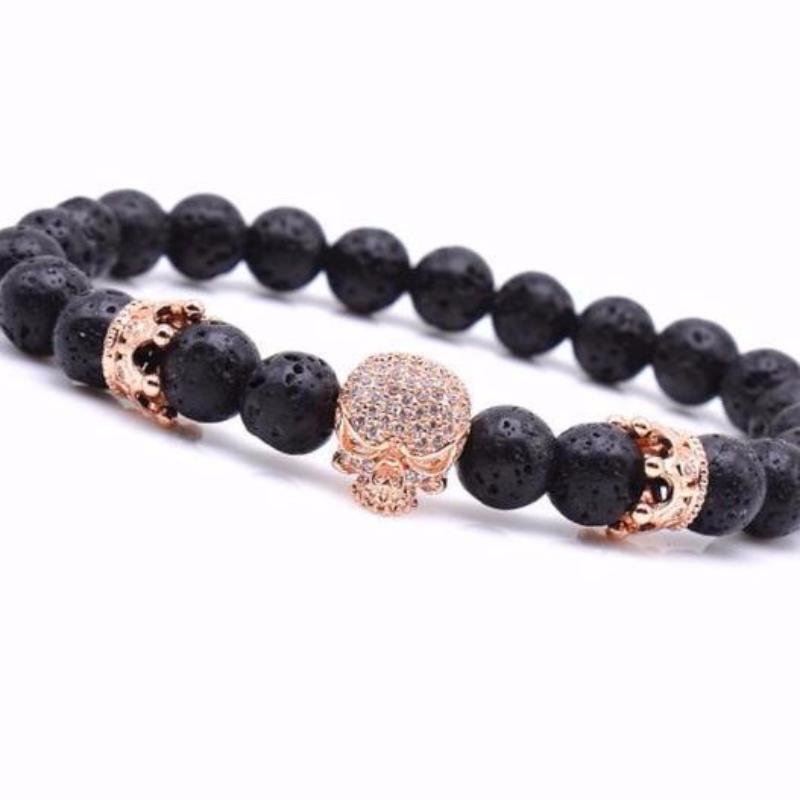 Rose Gold Skull Crown Stone Bracelet - Fleek365