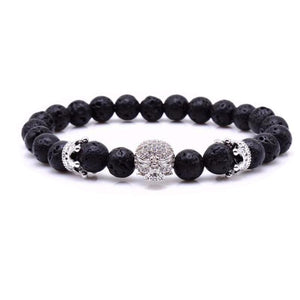 Silver Skull Crown Stone Bracelet - Fleek365
