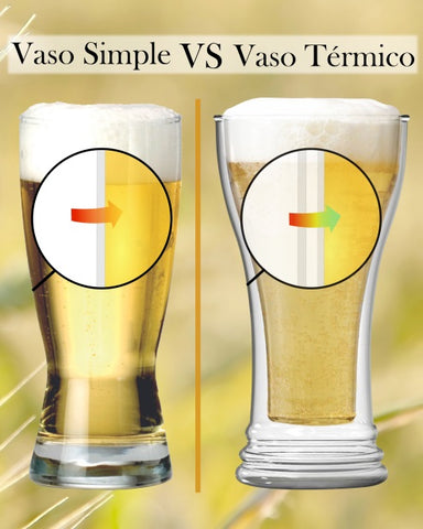 Comparación vaso termico vs vaso simple