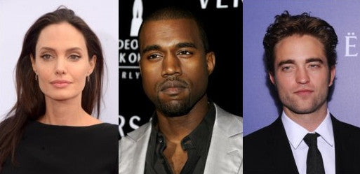 Angelina Jolie, Kanye West and Robert Pattinson