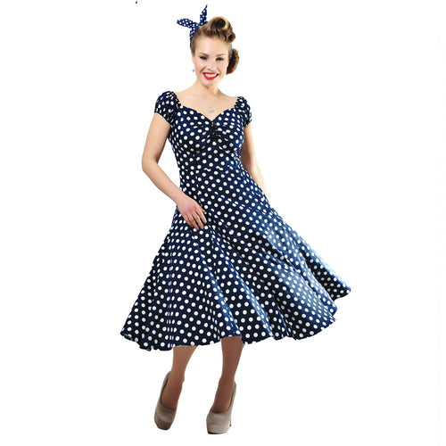 Collectif - Dolores kellomekko sininen Polka Dot