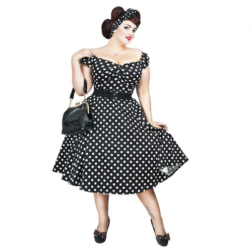 Collectif - Dolores Doll Black Polka Dot -kellomekko