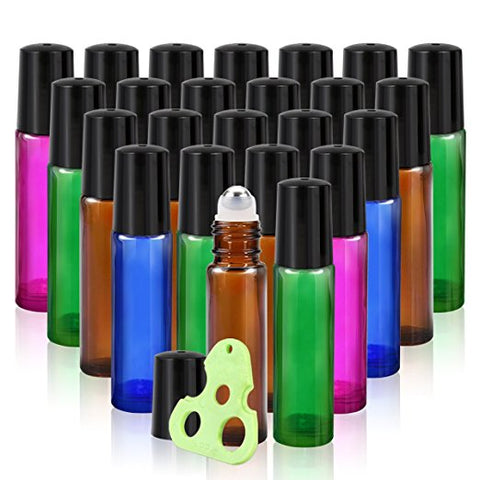 Olilia 10 ml Glass Roll on Bottles with Metal Roller Balls 24 Pack Essential Oils Key