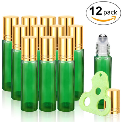 Glass Roll on Bottles with Metal Roller Balls Essential Oils Key included 12 Pack of 10ml