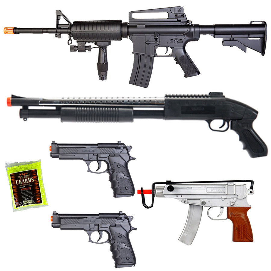 NEW LOT OF 5 AIRSOFT GUNS SNIPER RIFLE SHOTGUN MACHINE PISTOLS & 1000 6MM BBS