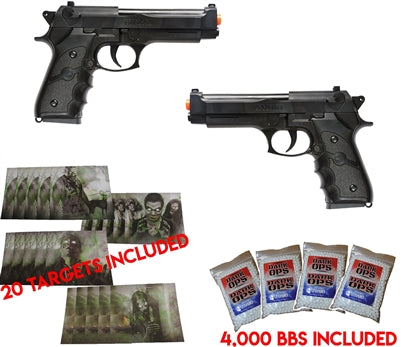 DUAL AIRSOFT SPRING PISTOLS M9 92 6MM BERETTA FULL SIZE W/ BBS & TARGETS