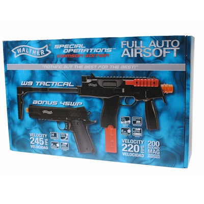 WALTHER TAC AIRSOFT GUN KIT PACKAGE - BLACK - AEG RIFLE + PISTOL