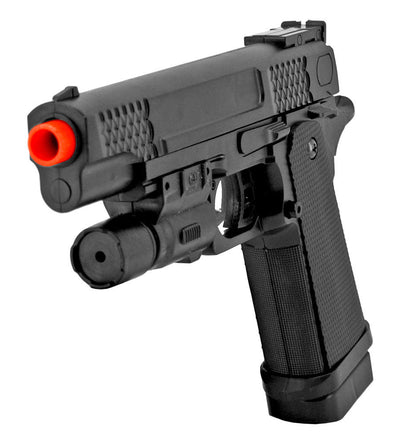 "P2002B FPS-140 Spring Airsoft Full Size Pistol with Laser 9"" Overall"