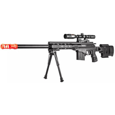 UK ARMS Tactical Spring Sniper Airsoft Rifle Gun With Laser Scope Bipod