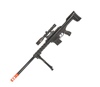 UK ARMS 250 FPS Spring Airsoft Sniper Rifle Gun With Laser Scope Sight Bipod