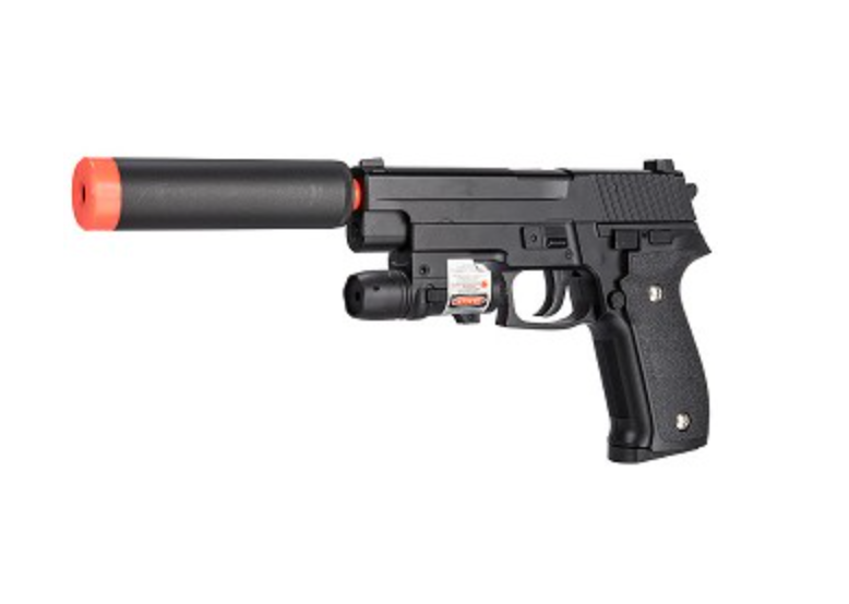 UK ARMS G6A FPS-250 226 Metal Spring Airsoft Pistol w/ Laser