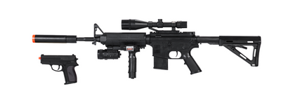 UK ARMS M4 SPRING-POWERED COMBAT RIFLE & SIDEARM KIT w/ Handgun BONUS (AST)
