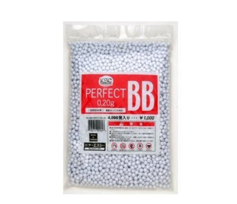 WA/KSC PERFECT 0.20G 6MM BBS, 4000 ROUNDS, WHITE