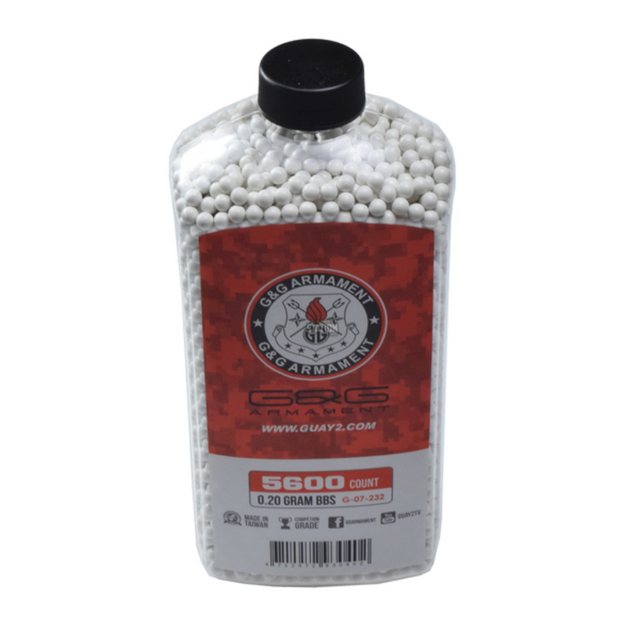 G&G PERFECT BBS, 0.20G, 5600 CT. BOTTLE, WHITE