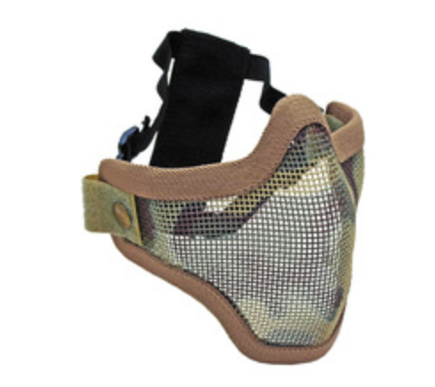 2G STEEL MESH HALF FACE MASK FOR AIRSOFT, CAMO