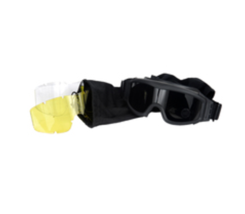 LANCER TACTICAL AIRSOFT SAFETY GOGGLES, FRAMELESS, BLACK LENS