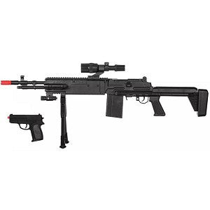 P1114 Spring Airsoft Rifle and P618 Pistol Gun