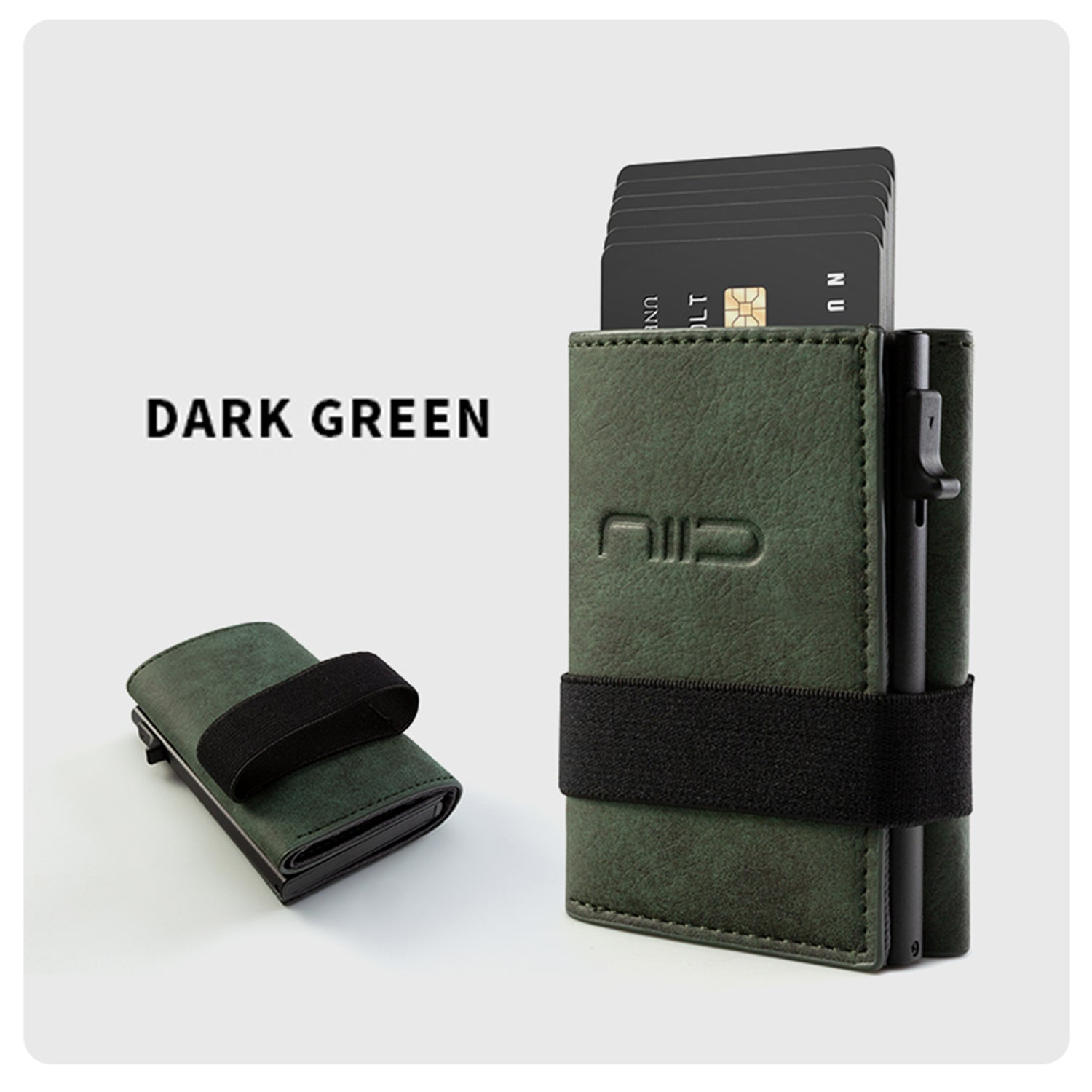 NIID Slide II Vegan Leather Mini Wallet Dark Green