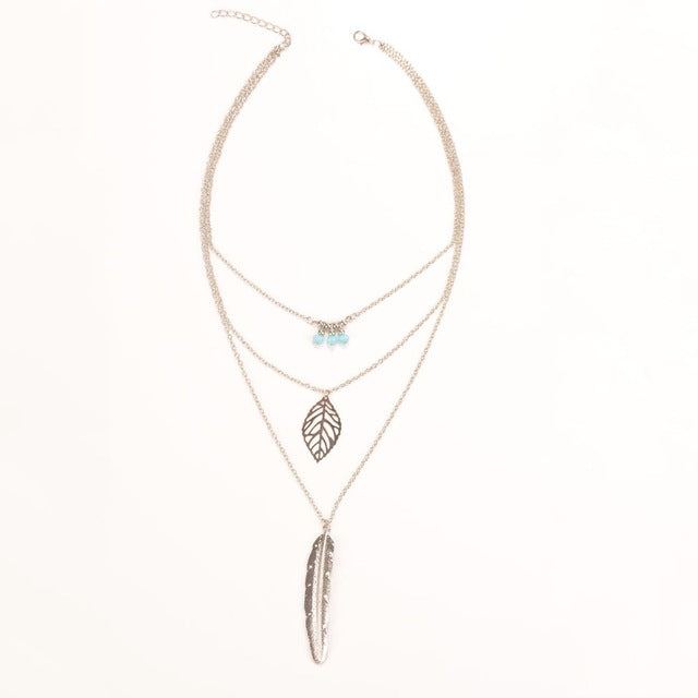 New Boho Feather Beads Necklaces Leaf Long Pendant Necklaces 3 Layer Chain Necklace multilayer Necklaces