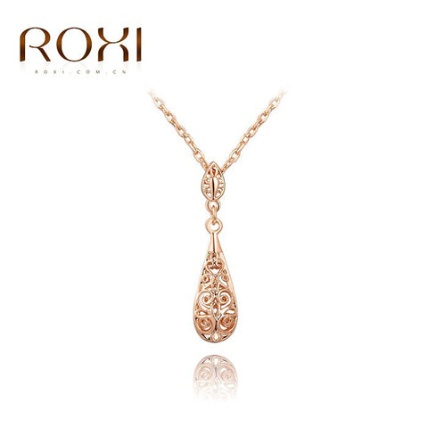 ROXI Brand Long Necklace Pendan For Women Hollow Rose Gold Color Elegant Tear Drop Pendant Luxury for Party Wedding Jewelry