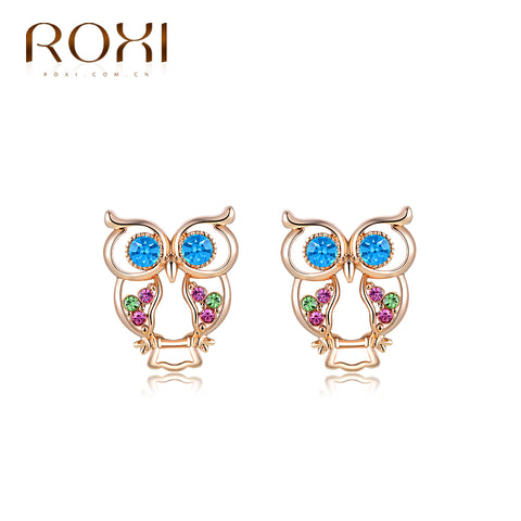 ROXI Brand Top Quality Crystal CZ Fashion Luxury Zircon Rose Gold Color Owl Pendant Women Ear Stud Earrings Elegant Earring